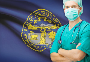 Surgeon with US state flag on background series - Nebraska