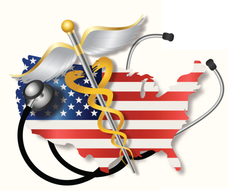 Stethoscope with USA Flag Map and Caduceus Vector Illustration