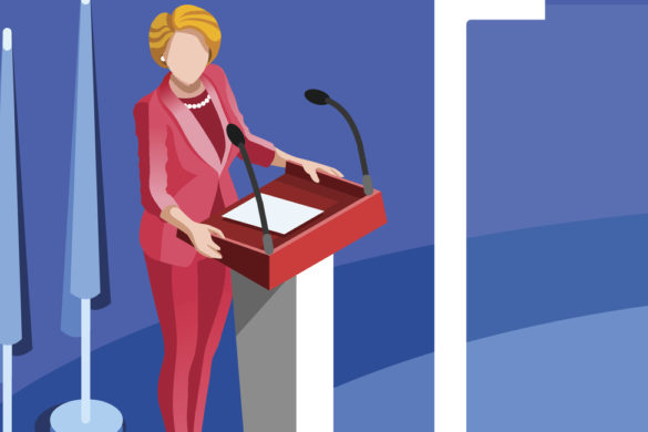 Election Infographic Presidential Debate Banner Vector Isometric People