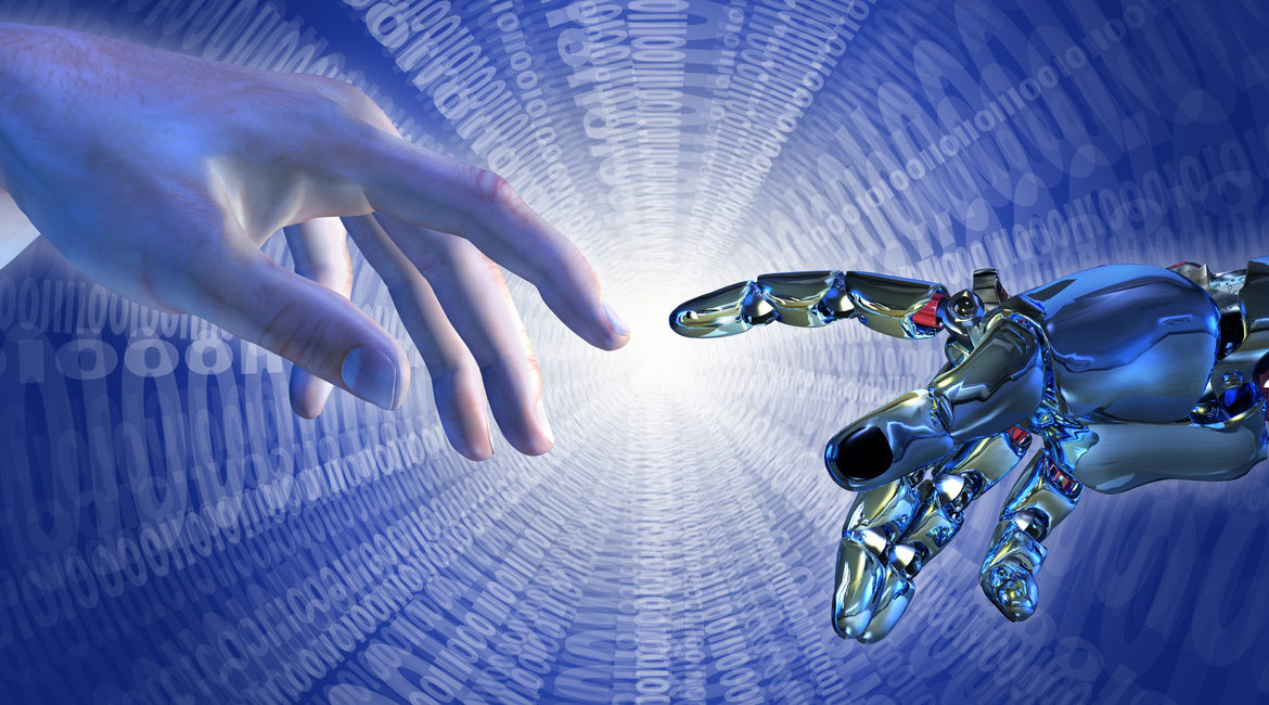 A human hand touching a hand of a robot, AI, Artificial Intelligence