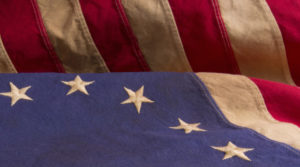 Detail of Betsy Ross Flag With Thirteen Stars and Stripes