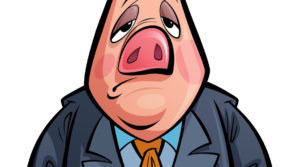 Cartoon sad politician pig animal character with costume