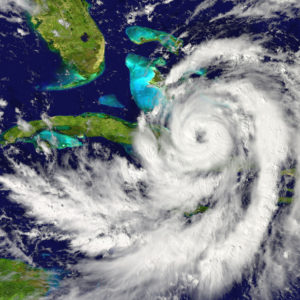 Huge hurricane approaching Florida in America. Elements of this image furnished by NASA.