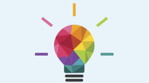 Low poly lightbulb as creativity and idea concept