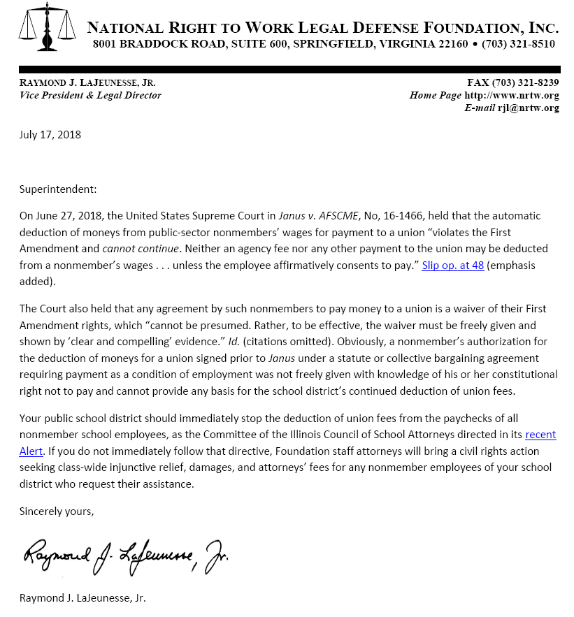 National Right To Work Foundation letter to Superintendents